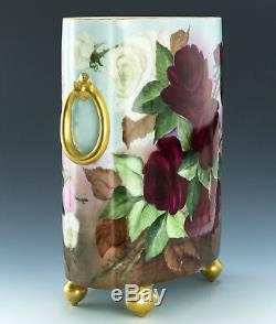 Limoges Hand Painted Roses 10-3/4 Cache Pot Vase