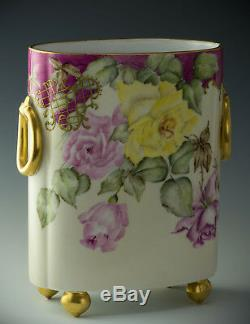 Limoges Hand Painted Roses 10-3/4 Cache Pot Vase Dated 1896