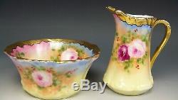 Limoges Hand Painted Roses Creamer Sugar Set Artist Signed Charles Hahn