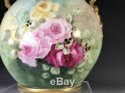 Limoges Hand Painted Roses Dragon Handles Vase