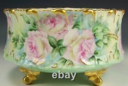 Limoges Hand Painted Roses Ferner Vase Artist Signed