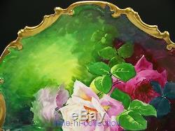 Limoges Hand Painted Roses Reflecting Over Water Signed A. Broussillon Charger