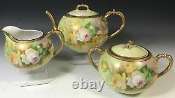 Limoges Hand Painted Roses Tea set