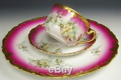 Limoges Hand Painted Roses Trio Plate Tea Cup & Saucer Teacup