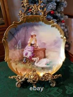 Limoges Hand Painted Scene Plaque Charger, Listed Artist Signed Dubois