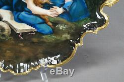Limoges Hand Painted Signed Penitent Magdalene Woman & Skull & Gold Tray