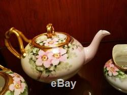 Limoges Hand Painted Wild Rose Tea Pot Charger Creamer Sugar Set, Artist signed