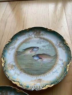 Limoges Handpainted Plates With Fish Decoration Set Of 6