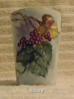 Limoges Jean Pouyat Hand Painted Grapes and Foliate Tankard Pitcher with 4 Match
