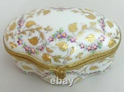 Limoges Le Tallec Hand Painted Hinged Porcelain Trinket Box