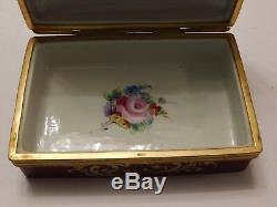 Limoges Le Tallec Porcelain & Gilt Trinket Box Handpainted Flowers Signed Base