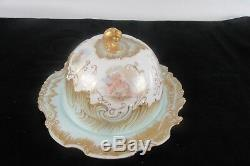 Limoges MR France Cheese Dome Hand Painted Victorian French Cherub Gold