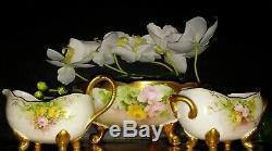 Limoges P & P Hand Painted Roses Footed Bowl & Bavaria Creamer & Sugar Bowl