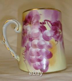 Limoges Pitcher Tankard Mugs Set Handpainted Grapes marked 5 pcs