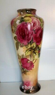 Limoges Quality Antique 16 Signed Vase. Dated 1911. Hand Painted Roses