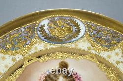 Limoges Royal Vienna Style Hand Painted Blue Luster & Raised Gold Portrait Plate