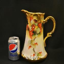 Limoges T&V 10+ Pitcher 1903-1905 Hand Painted Pickard LeRoy Gooseberris withGold