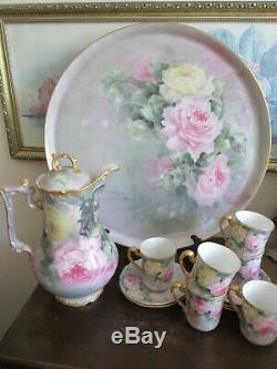 Limoges T&V Handpainted Chocolate Set Tray Cup And Saucer Pot Roses Gold Signed