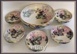 Limoges T&V Porcelain Hand Painted Blackberries Fruit/Berry/Serving Bowls 6 PCS