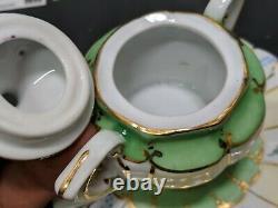 Limoges Tea Set Floral Rose Green Gold espresso Lids Saucers Hand Painted