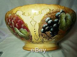 Limoges Tresseman & Vogt Porcelain Hand Painted Signed Punch Bowl 1892-1907