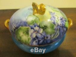 Limoges Wm Guerin & Co Handpainted Dresser Tray And Two Trinket Box Violets