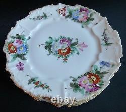 Limoges dinner plates studio hand painted Dresden style floral set of 6 antique
