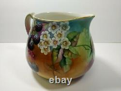 Limoges hand painted Signed Pearl Fisher France Pitcher G2