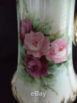 Limoges painted china tankard 15.5in pink red roses gold T&V Tressemann Vogt