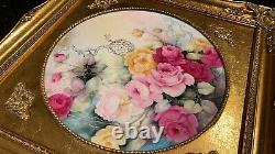 Limoges plaque chargers plates wall Pair roses and mums hand painted framed