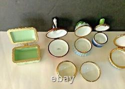 Lot 6 Vintage Dubarry Limoges France Cat Frog Flower Hand Painted Trinket Boxes