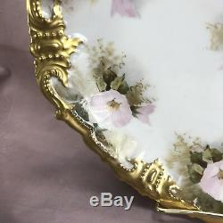 Louis Strauss & Sons Limoges Hand Painted Pink Morning Glories & Gold Cake Plate