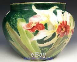 Lovely Limoges France Hand Painted Cattleya Orchid Jardiniere