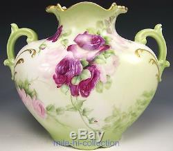 Lovely Limoges Hand Painted Roses Pillow Vase