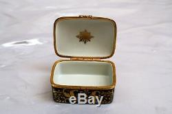 Magnificent Tiffany & Co Hand Painted Porcelain Gold Plated Bronze, Brass Box