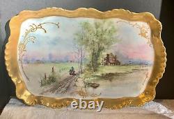 Marvelous Limoges France Hand Painted Summer Scene Mother Child Dog GOLD Platter