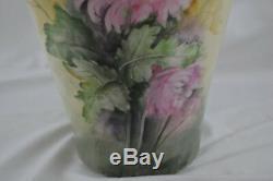 Monumental Vase T&V Limoges Hand Painted Signature Hard To Read Purple