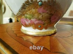 Nippon Hand Painted Jeweled Raised Gold Rose Chocolate Pot
