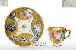 Old France Limoges Porcelain Porcelaine Hand Painted Tea Demitasse Cup & Saucer