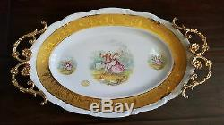 Ormolu Gilt 22 Kt Hand Painted Victorian Limoges Dish Tray With Brass Handles