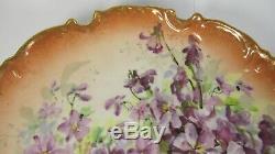 PAIR Antique Limoges Paris Porcelain ART NOUVEAU Hand Painted Cabinet Plate