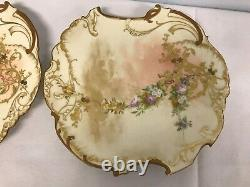 PAIR OF ANTIQUE GD & Cie LIMOGES HAND PAINTED PLATES with FLOWERS 9
