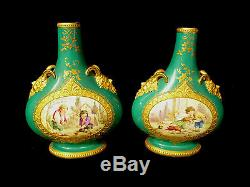 PAIR OF EARLY ROYAL WORCESTER GILT HAND PAINTED SCENIC VASES With CHILDREN C 1865