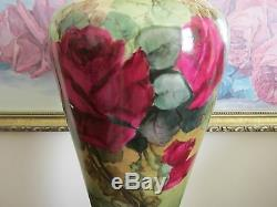 PL Limoges France Hand Painted Red Roses Vase Signed M. B. A. Sleeper 13.5