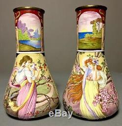 Pair Antique Art Nouveau Hand Painted Enameled Brass Vase Limoges/Mucha Woman