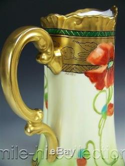 Pickard Hand Painted Poppies Tankard Pitcher Signed Leon