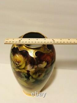 Pitkin & Brooks Limoges Goa France Hand Painted Roses Vase 11.5 Artist Signed