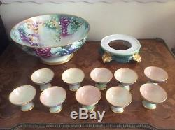 Punch Bowl Huge Antique Hand Painted Limoges Punch Bowl, Stand +10 Goblets 1892