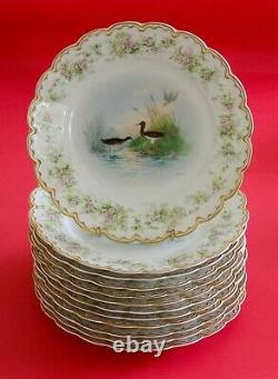 RARE! 12 Haviland Limoges Plates HandPainted Game Birds Roses Dble Gold! Signed
