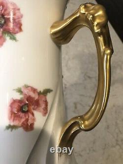 RARE Antique Jean Pouyat J. P. L. France Limoges Hand-painted Floral/Gold Pitcher